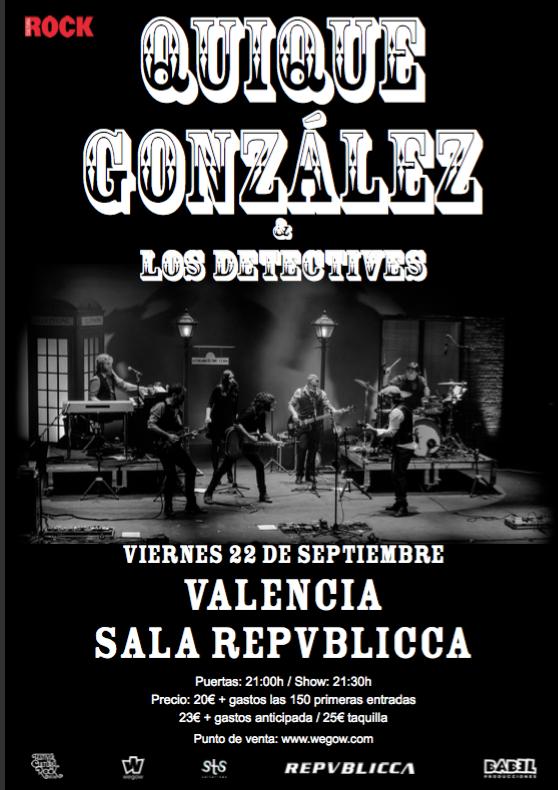 QUIQUE GONZÁLEZ – 22 septiembre en la sala Repvblicca